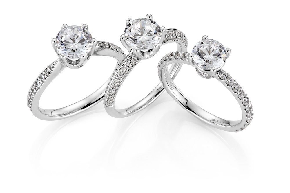 Enstensringer med sidediamanter