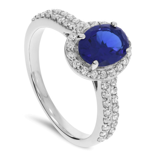 Oceano Ring Safir og Diamanter