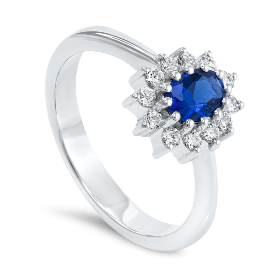 Magnifico Ring Safir og Diamanter